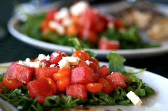 Tomato Watermelon Salad with Feta and Toasted Almonds