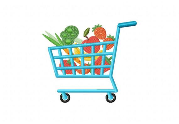 grocery cart embroidery